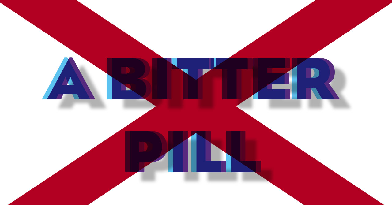 "Flag of Virginia overlaid with the phrase ""A Bitter Pill"""