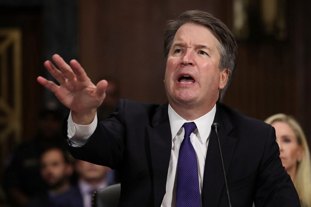 Judge Brett Kavanaugh gesturing during his confirmation testimony