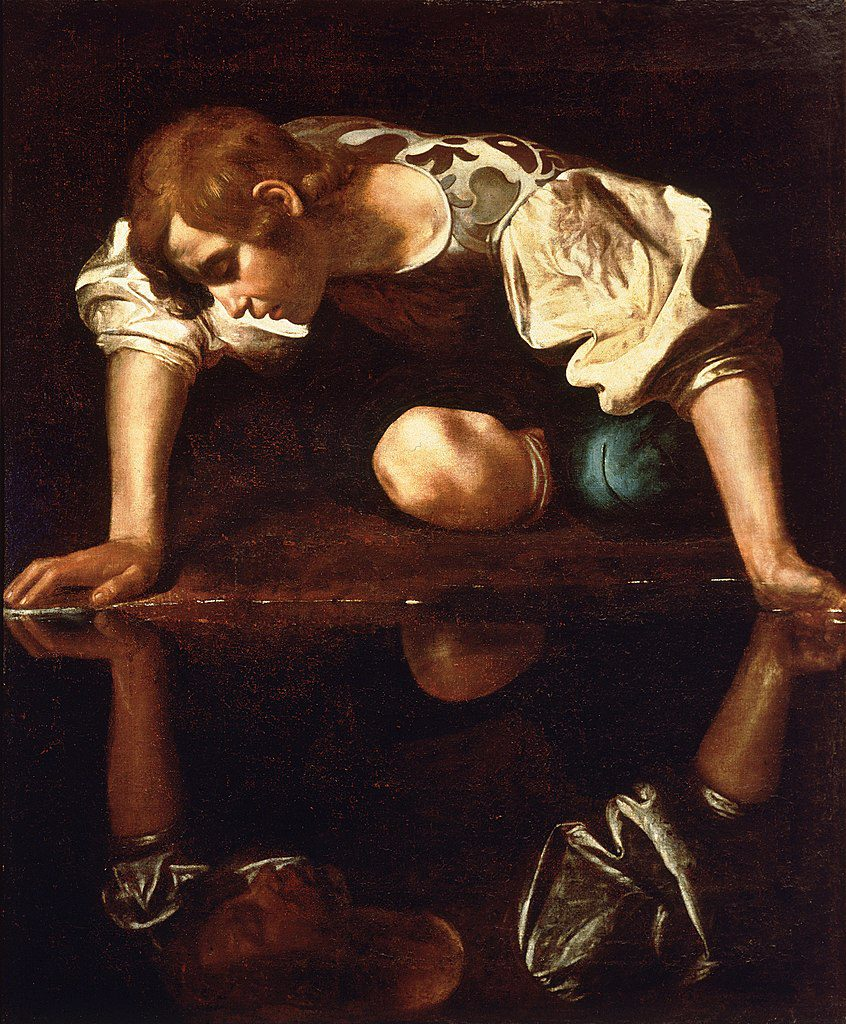 An oil painting of Narcissus looking at his reflection
