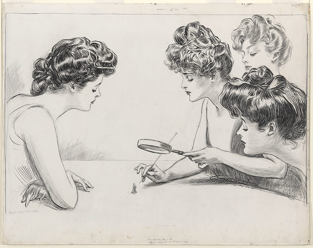 "Charles Dana Gibson's ""The Weaker Sex"", four early 20th century women looking at a tiny man through a magnifying glass"