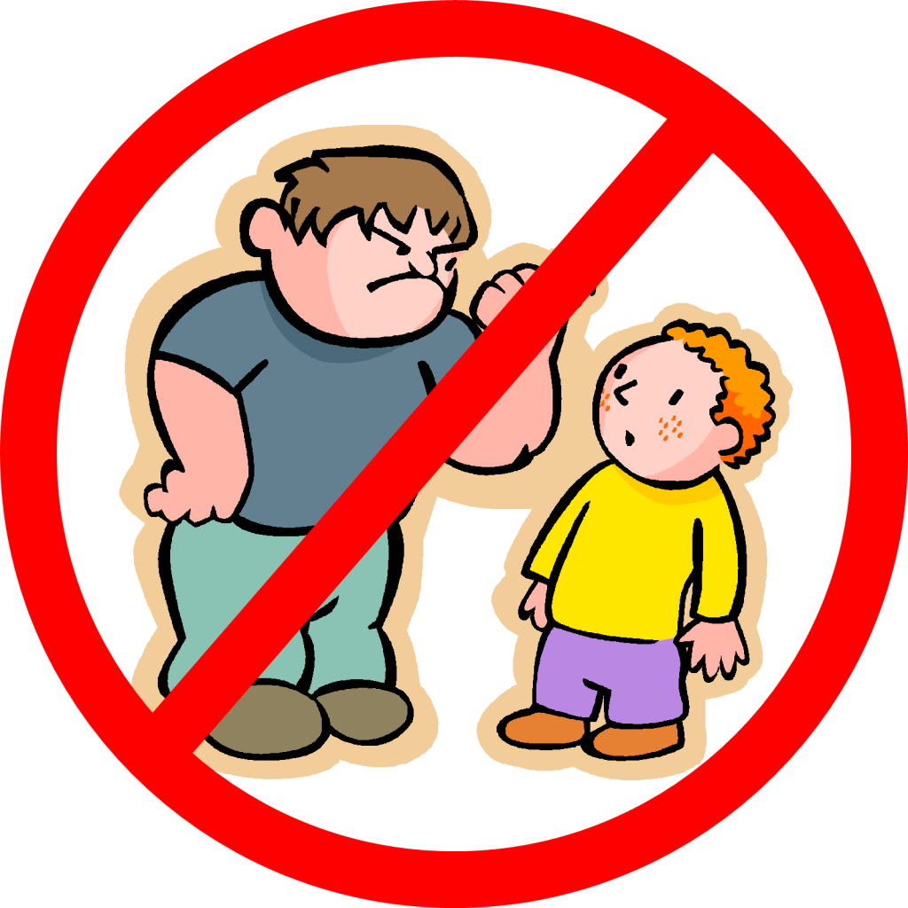 "A ""No"" icon superimposed over a drawing of a bully raising his fist to a smaller child"