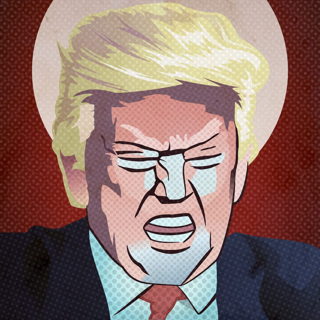 A stylized image of Donald Trump shouting