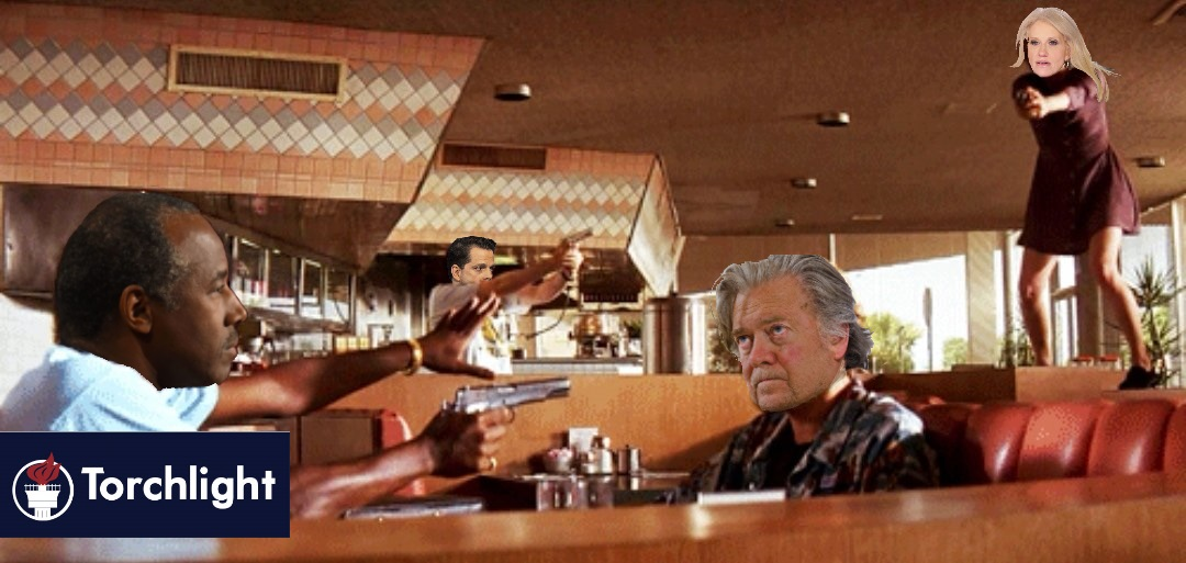 The Mexican Standoff from the diner scene in Pulp Fiction, with Trump Administration figures' heads photoshopped on